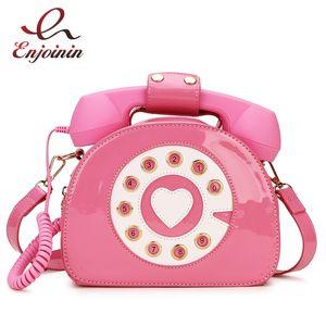 Telephone Shaped Women's Purses and Handbags Shoulder Bag Crosbody bag for Girl Patent Leather Casual Tote Bags Messenger Bag LJ210203