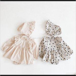 Layette Set Toddler Baby Girls Polka Dots Peach Heart Romper Long Sleeve Infant Ruffle Cotton Soft Bodysuit 0Nfgy R94J8