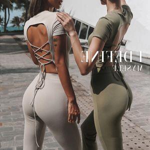 Sports Short Sleeve Women's Elastic Slim Fit Short Fitness Yoga Suit
