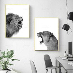 Pieces Canvas Painting Lion And Lioness Poster Animal Wall Art Print Picture Black White Woodlands For Living Room Home Decor Paintings