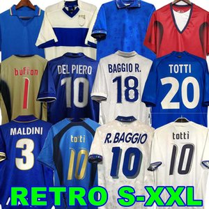 1998 1982 rétro 1990 1996 Football Soccer Jersey Maldini Baggio Rossi Schillaci Totti Del Piero 2006 Pirlo Inzaghi Buffon Italie Cannavaro