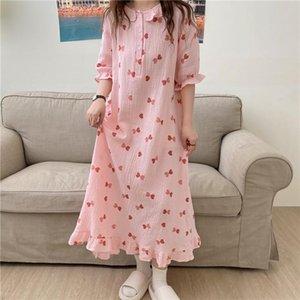 Women's Sleepwear Cute Heart Love Print Nightgown Women Dress Ruffles 100% Cotton Soft Comfortable Sleepdress Summer Homedress Y514