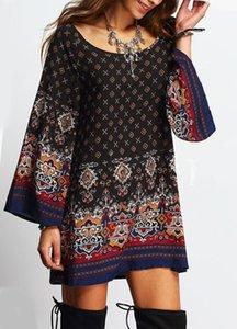 Женская с длинным рукавом Барокко Этнические племенные Африканский ацтекский Пейсли мини-Babydoll Плятное платье Купальники