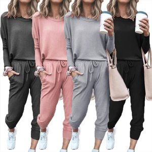 Solid Color Long Sleeve Women Tracksuits O Neck Blouse Top Drawstring Pants Sport Sports Shirts Autumn Winter Set Tracksuit
