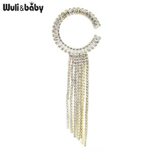 Wuli&baby Tassel Brooches Women Shinning 2-color Czech Rhinestone Office Party Brooch Pins Gifts Pins,