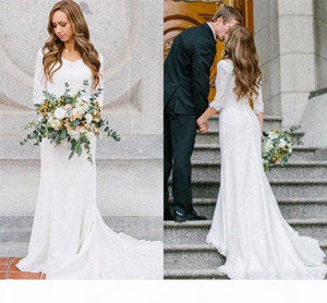 2019 Vintage Bohemain Spitze Brautkleider 3 4 Lange Ärmel V Neck Sweep Zug Land Brautkleider billig