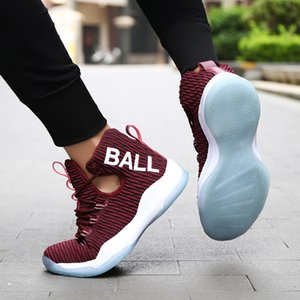 High Top New Sports in Autumn of 2019 Flying Woven Breathable Casual Wear Resistant and Antiskid Basketball Couple Shoes 7G70