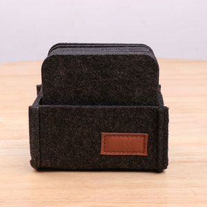 Felt Coaster With Box Cup Pads Table Mats Simple Thermal Coasters Home Decoration Solid Color Tablewear GGA5141