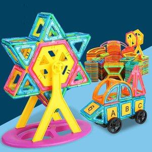220pcs Big Size Magnetic Toys Designer Magnet Building Blocks Construction Set Magnetic Bircks DIY Toys for Children Gifts 210607