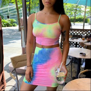 Womens Printed Colourful Women Tracksuits Crop straight strap Tops Skirt Sets Summer Beachwear Clubwear skinny Two Piece