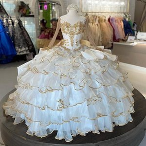2021 White Quinceanera Dresses with gold stain edge Ruffles Skirt Organza Sweet 16 Dress Beaded vestidos de 15 Ball Gown Prom Gowns Long Sleeves