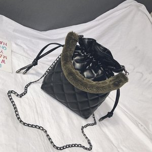 TCGAD Mini 2021 Plaid Bolsa de mujer Bohemia Estilo de hombro Cuero PU Bucket Newest Lady Plush Female Bolso Chain FCWBR