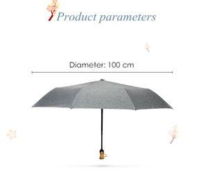 Umbrellas Leodauknow Fully Automatic High Quality Three Folding Bamboo Handle Sun Protection Uv Travel Umbrella Mochino Women