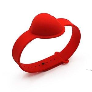 10ml Hand Sanitizer Silicone Wrist Bracelet Liquid Soap Dispenser Heart Shaped Wristband Portable Dispensing Squeezy Bangle Party OWE5664