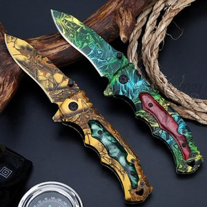 Rich Pattern Printing Knife 2 styles High-Hardness Folding Knife Field Survival Multi-Function Folding Knife DHL Free