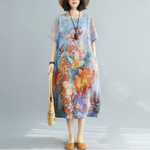С коротким рукавом плюс размер шифон старинные цветочные платья для женщин повседневная свободное длительное летоное солнце платье элегантная одежда сарафана