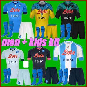 Männer + Kids Kit 20 -21 Napoli Fußball Jersey Startseite 2021 Neapel Hamsik Insignente Mertens H.lozano Maradona Viertel Fußball Hemd