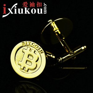 Button Bitcoin gold high quality men's French Cufflinks   801133
