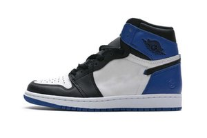 Newest Authentic 1 High OG x Fragment Design White Sport Royal Black 1S Men Athletic Shoes Sports Sneakers With Original box 716371-040