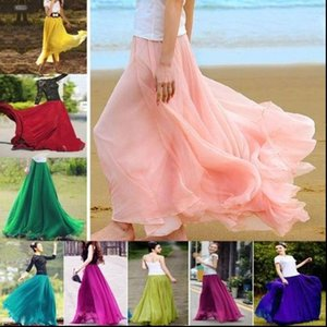 Brand Women Womens Skirt Boho Double Layer Maxi Dress Chiffon Long Sundress Summer Lady Beach Solid