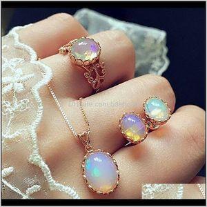 Bracelet Opal Necklace Ear Studs Chain Choker Necklaces Rings Suit Earrings Jewelry Set Wedding Promise Ring Sets Women 04Iwa Krzq4