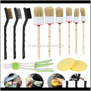Brushes 12Pcs1Set Professional Car Detail Kit Motive Interior Brush Boar Hair Wheel Cleaning Tools 201214 Xjvmc Vdc3O