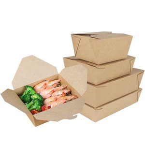 Conteneurs d'aliments respectueux de la vaisselle jetables avec des couvercles en papier marron déjeuner jetable déjeuner bento boîte à micro-ondes repas boîte boîte de préparation d'école {catégorie}