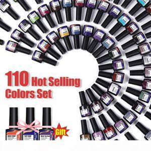 LEMOOC Nail Polish Gel Set 110 Hot Selling Colors Soak Off Semi Permanant Nail Varnish Lacquers UV LED Lamp Cured Polishes Kits