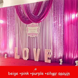 Party wedding decortions Sparkly 3Mx6M Wedding Backdrop curtains with Silver Purple Sequins swag Celebration Stage Performance Background props