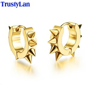 Never Fade TrustyLan Allergy Free Black Gold Color Stainless Steel Earings Punk Cone Earrings For Women Men Fashion Jewelry 2021