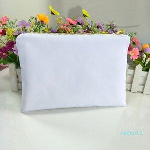 30 قطعة / الوحدة الأبيض بولي قماش حقيبة ماكياج للتسامي طباعة مع بطانة بيضاء بيضاء الذهب الرمز البريدي فارغة حقيبة مستحضرات التجميل لطباعة نقل الحرارة