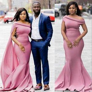 2021 Nuevos vestidos de dama de honor africanos polvoriento rosa sirena primavera un hombro campo jardín formal boda boda vestidos de fiesta más tamaño personalizado