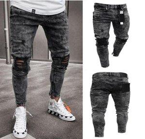 Erkek Desiner Kot Kar Gri Kıvılcım Draped Yıkanmış Uzun Kalem Pantolon Moda Elastik Diz Delik Fermuar Jeans