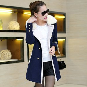 XUXI Women's Fashion Fur Collar Long Femme Autumn New Tide Large Winter Coat Fur Collar Chaqueta Mujer Female Overcoat FZ274