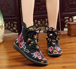 Fashion Boots Autumn And Winter Cloth Shoes Embroidered Flat Heel Lace Up Short Style Women's Diamond Brand Men Women Sneakers