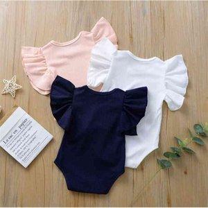 Çocuklar Tasarımcı Giysi Kız Falbala Fırfır Tulum Bebek Yaz Katı Tulumlar Onesies Moda Üçgen Bodysuits Tırmanış Takım Elbise PY596