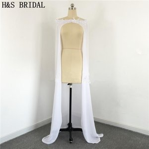 Wraps & Jackets 2021 Long Wedding Jacket Chiffon White Lace Appliques Bridal Vestidos Capes Real Pos