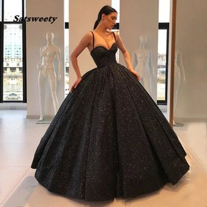Black Ball Gown Quinceanera Dresses 2021 New Women Formal Party Night Evening Dress Spaghetti Straps Elegant Sequined Prom Dress