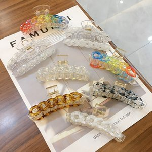 Korean Rainbow Chains Sweet Clamps Candy Color Square Fans Model Hair Claws Women Girls Geometric Scrunchies Wash Head clips Jewelry Wholesale