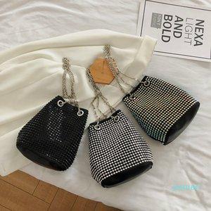 Designer- Fashion Womens Rhinestone Evening Bucket Bags Female Shoulder Dinner Party Handbags Ladies Handle Messenger Bag Purse
