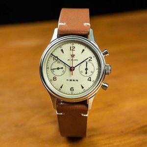 Armbanduhren Herrenuhren Top 2021 Möwe 1963 Chronograph Sapphire Männer Big Gesicht Armbanduhr Wasserdichte Lederband