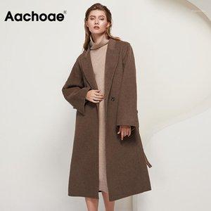 AACHOAE Winter Women 100% lana Abrigo largo con cinturón Sólido Doble Breasted Chic Sobrecoat de manga larga Casual Woolen Abrigos de lana 20201