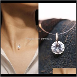 Chains Necklaces & Pendants Jewelry Drop Delivery 2021 European And American Creative Simple Fashion Transparent Fish Line Zircon Necklace Fe