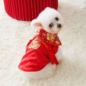 Winter Spring Autumn, Chinese Year Tang Dress Skirt Two Legged Cotton Padded Jacket Dog Warm and Thickened Cat Pet Clothes