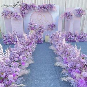 Decorative Flowers Wreaths Purple Artificial Flower Arrangement Wedding Catwalk Road Lead Backdrop Party Wall Decoration HWB10345