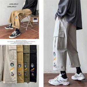 Mens calças foguete padrão de astronauta straight-perna harem tendência larga perna grossa macacão calças casual sólido straight streetwear
