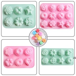 12 Grids Rose Shaped lce Cube Molds Silicone Pudding Chocolate Mould Flower Grass Ices Cubes Tray Home Kitchen Baking Too HWF10177
