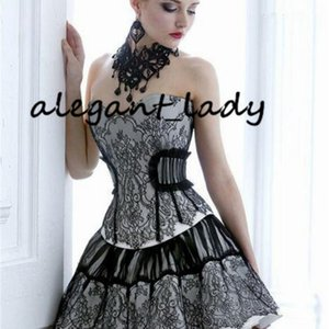 Little Black Dress Lace Gothic Prom Corset Dresses Southern Belle Victorian Homecoming Dress A-line Short Mini Hallowood Cocktail Party gown