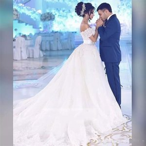 2021 A Line Wedding Dresses V Neck Long Sleeves Lace Bridal Gowns With 3D Appliques Cathedral Train Plus Size vestido de novia