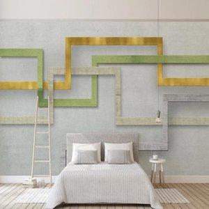 Wallpapers Milofi Custom Large Wallpaper Mural 3D Retro Cloth Pattern Geometric Line Background